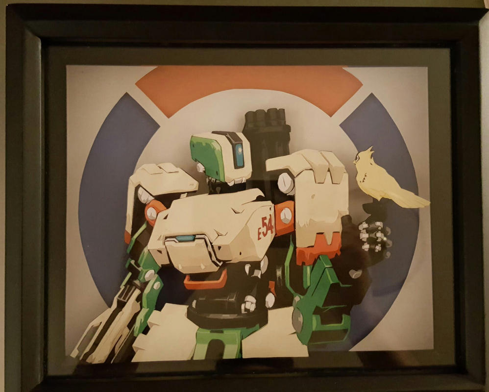 3d papercut of Bastion and Ganymede from Overwatch by DrClockwise