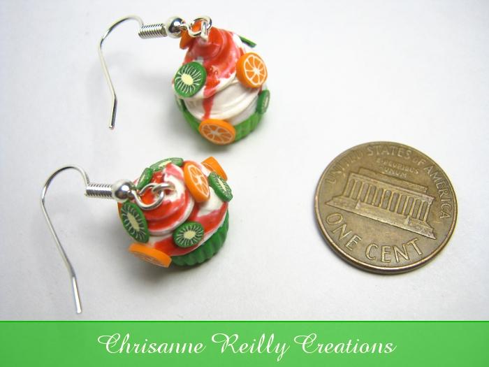 Kiwi Orange Cupcake Earrings by quecksilver