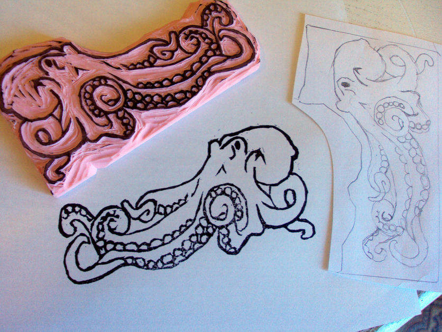 Octopus rubber stamp carving by nezumish on deviantart