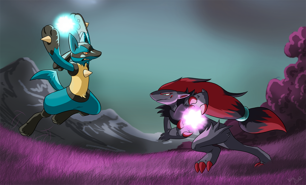 Lucario vs Zoroark by Natsuakai on DeviantArt