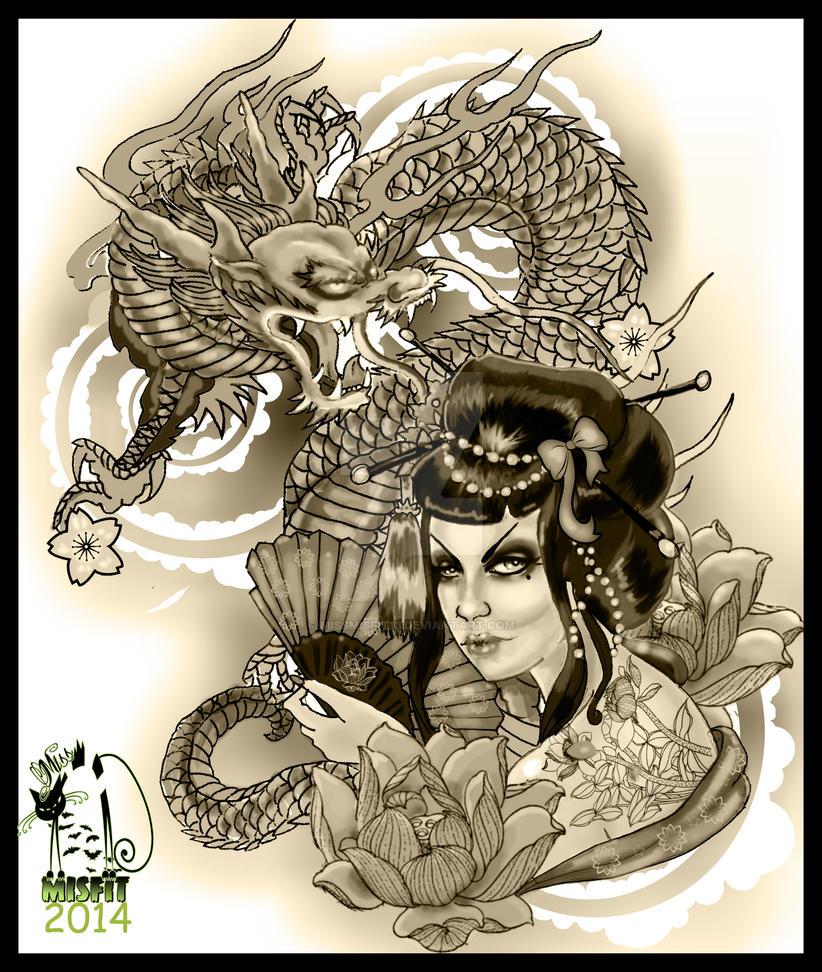 geisha dragon tattoo design by missmisfit13 on deviantart. Black Bedroom Furniture Sets. Home Design Ideas