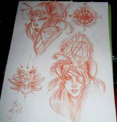 609568954 MissMisfit13 8 2 Japanese and Pirate girls tattoo flash by MissMisfit13