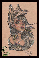 Wolf girl tattoo flash by MissMisfit13