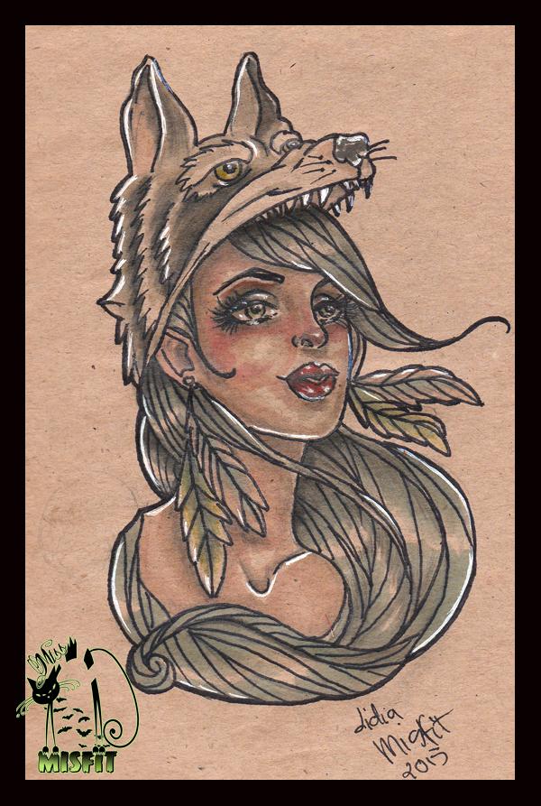 a1ec84ee6 Wolf girl tattoo flash by MissMisfit13 on DeviantArt