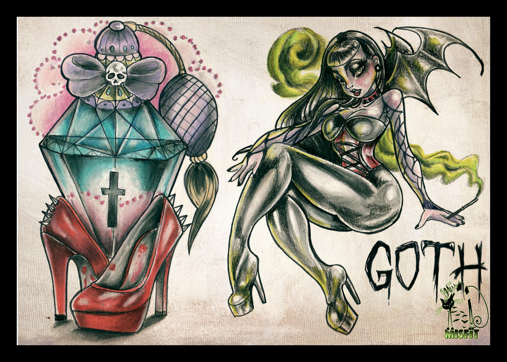 If I Only Were A Goth Tattoo Flash By MissMisfit13