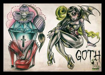 4a55e4be2 MissMisfit13 31 5 If i only were a Goth tattoo flash by MissMisfit13