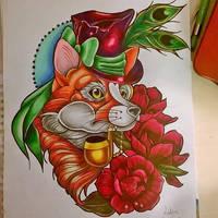 Lord fox neo traditional tattoo flash by MissMisfit13
