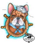 Neo traditional French bulldog tattoo flash
