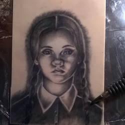 Wednesday Addams tattoo on practice skin by MissMisfit13