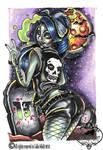 Graveyard zombie pin up tattoo design