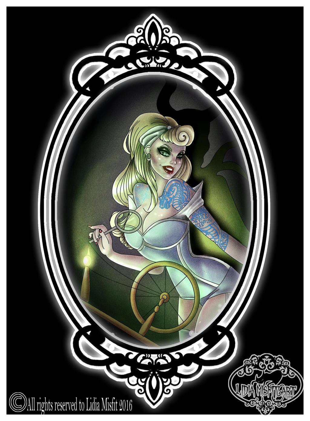 Aurora tattoo pin up sleeping beauty by MissMisfit13