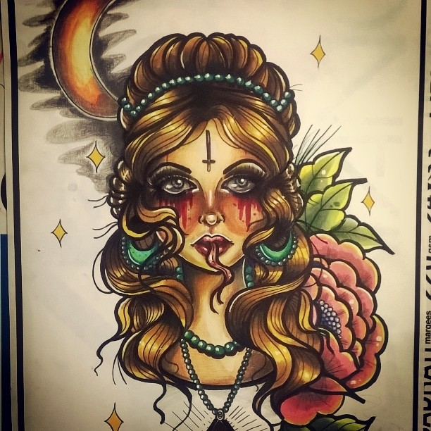 ghost girl neotraditional tattoo design by missmisfit13 on