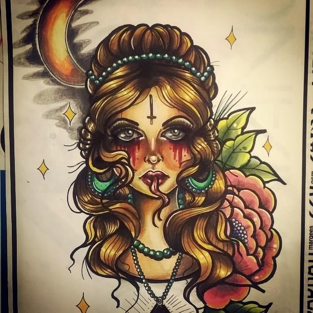 461104f82 Ghost girl neotraditional tattoo design by MissMisfit13 on DeviantArt