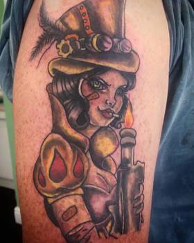 Snow white mix Tank girl steam punk tattoo