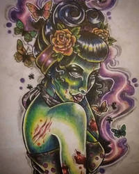 Zombie pin up tattoo costume design