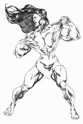 She Hulk ripping her dress. by UZOMISTUDIO