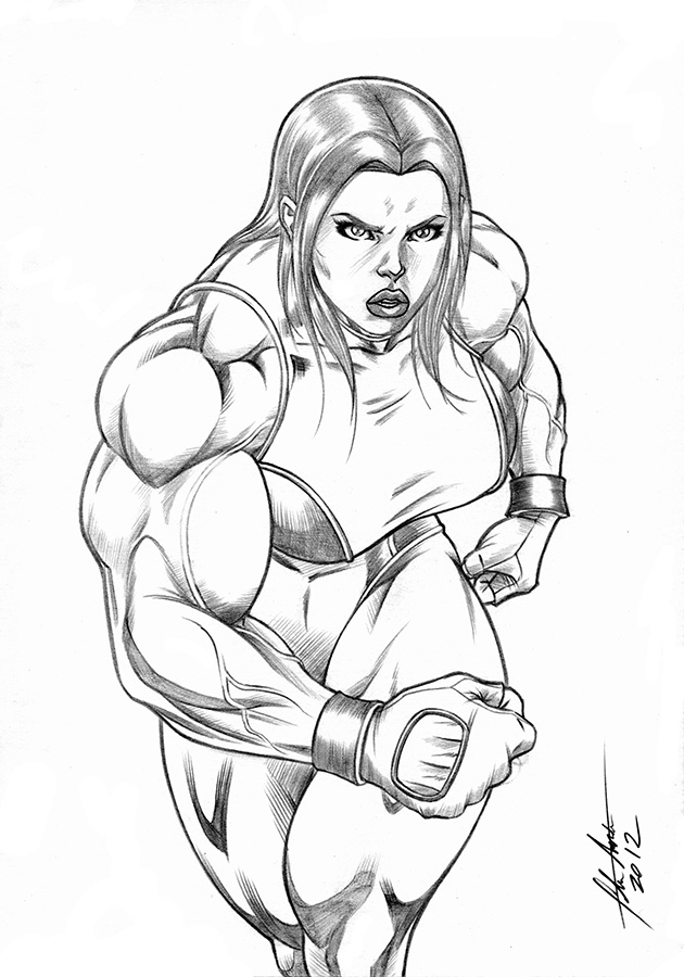 She Hulk Walking by UZOMISTUDIO