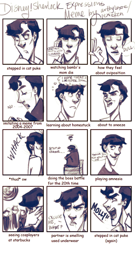 Disney!Sherlock Unusual EXPRESSIONS MEME by lexieken