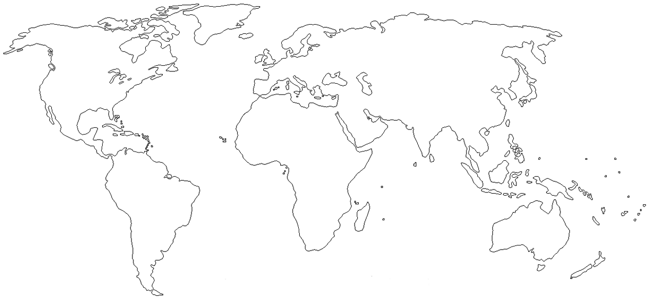 Map Of The World Line Drawing