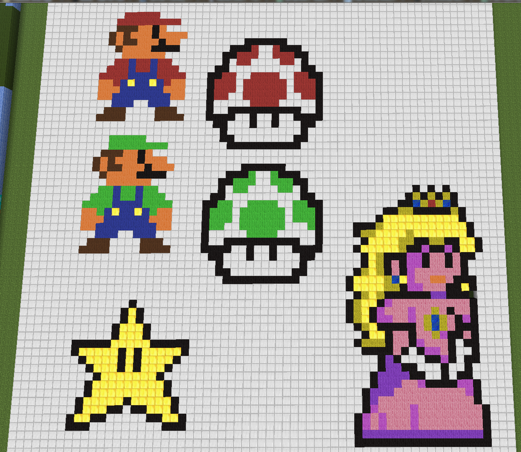 Images of Mario 8 Bit Grid - #rock-cafe