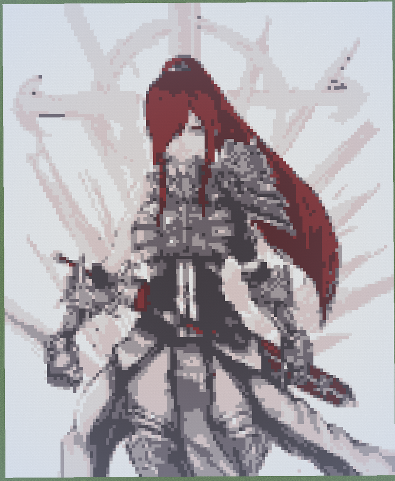 8 Bit Anime Characters : Bit erza scarlet fairy tail minecraft light by