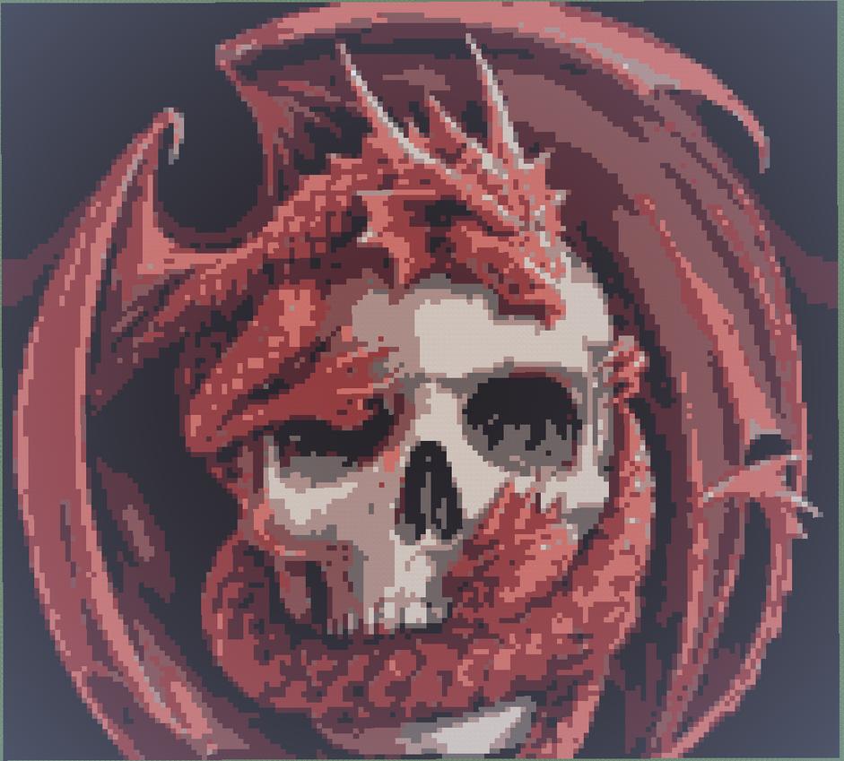 Fantasy dragon on skull 8bit minecraft Light by