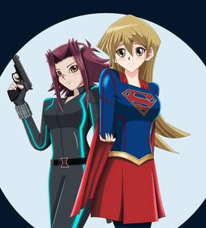 .: YGO : Asuka and Aki : Superheroes :.