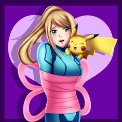 .: Samus and Pikachu : Ribboned :.