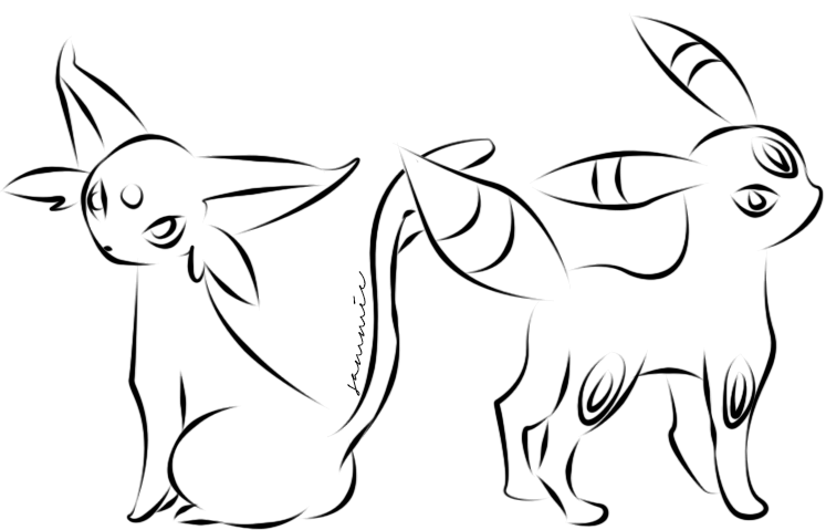 Umbreon And Espeon By Ensnarings On Deviantart Espeon Coloring Pages