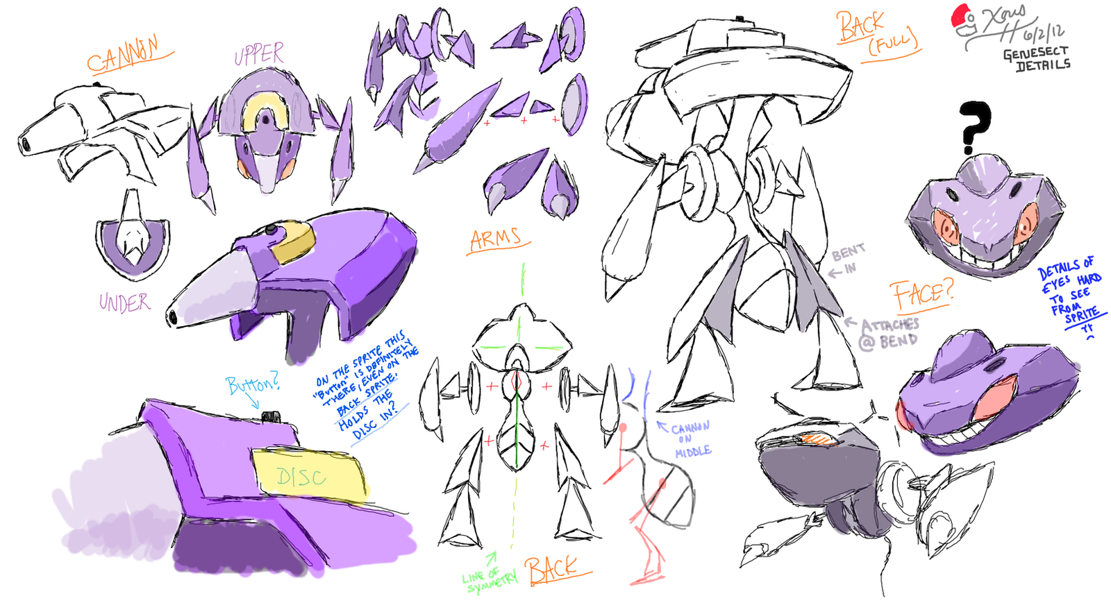 Genesect Detail Sketches by Xous54 on DeviantArt