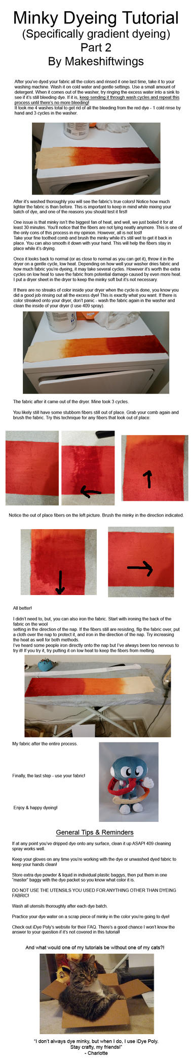 Minky Dyeing Tutorial - Part 2 by makeshiftwings30