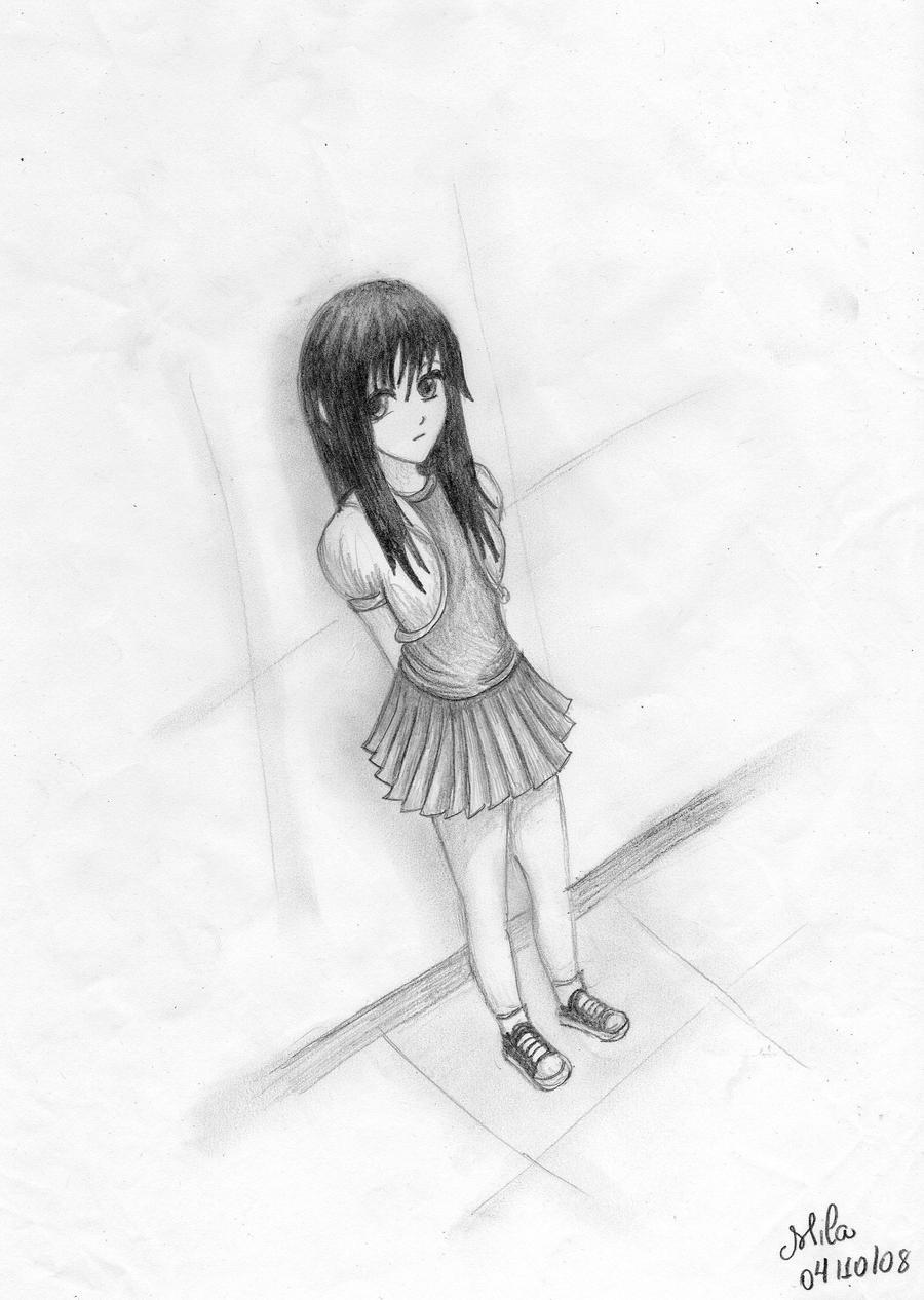 Sad girl in love crying drawing