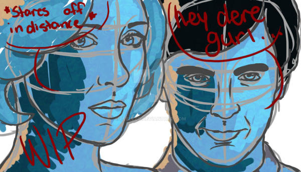 norma-and-norman-portrait. bates-motel. WIP by peblezQ