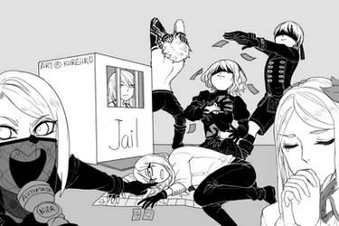 Nier: Automata - Monopoly Squad Meme by KUREiiRO