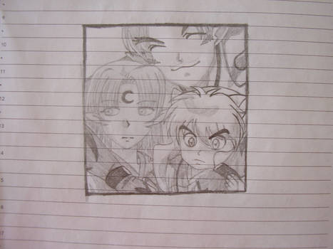 Little Sesshomaru with his father and brother