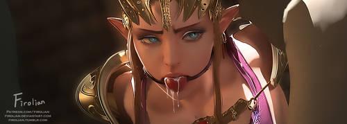 Zelda with ball gag by Firolian
