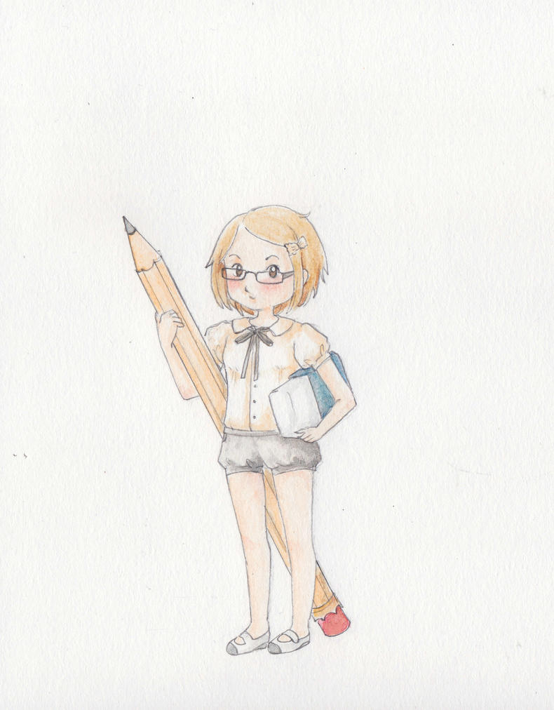 Portrait of the Artist with a Huge Pencil by Feliks-Grell