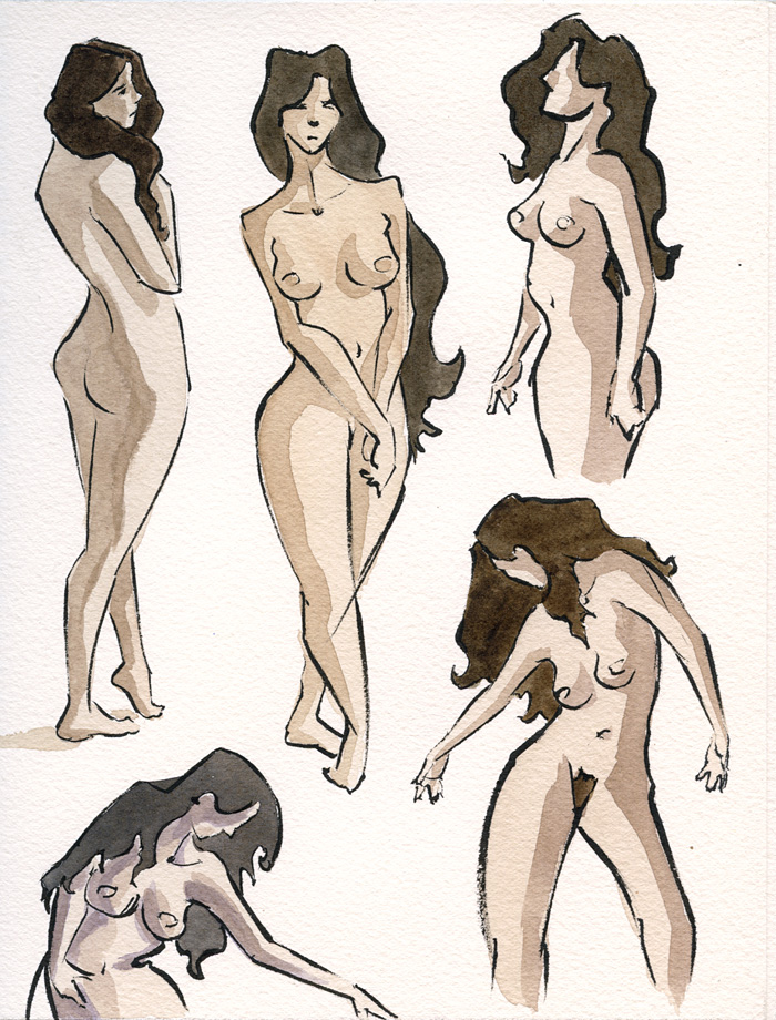 Ink and Watercolor Nudes 5 by zacharyknoles