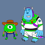 (Request) Mike and Sulley as Woody and Buzz by SharkiBee