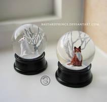 : pair of little kitsune snowglobes : by BastardPrince