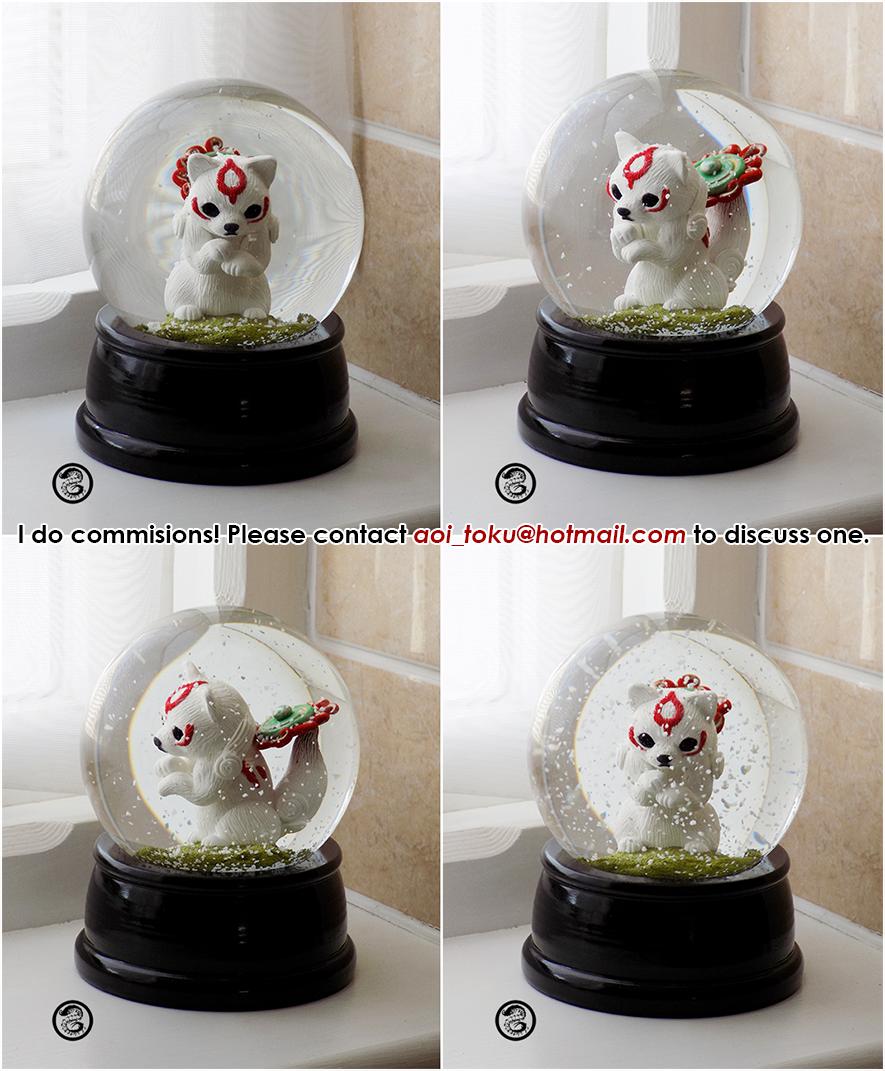 : chibiterasu snowglobe : by BastardPrince