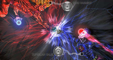 digital : superman vs ssj 3 goku small 2013 by darshan2good
