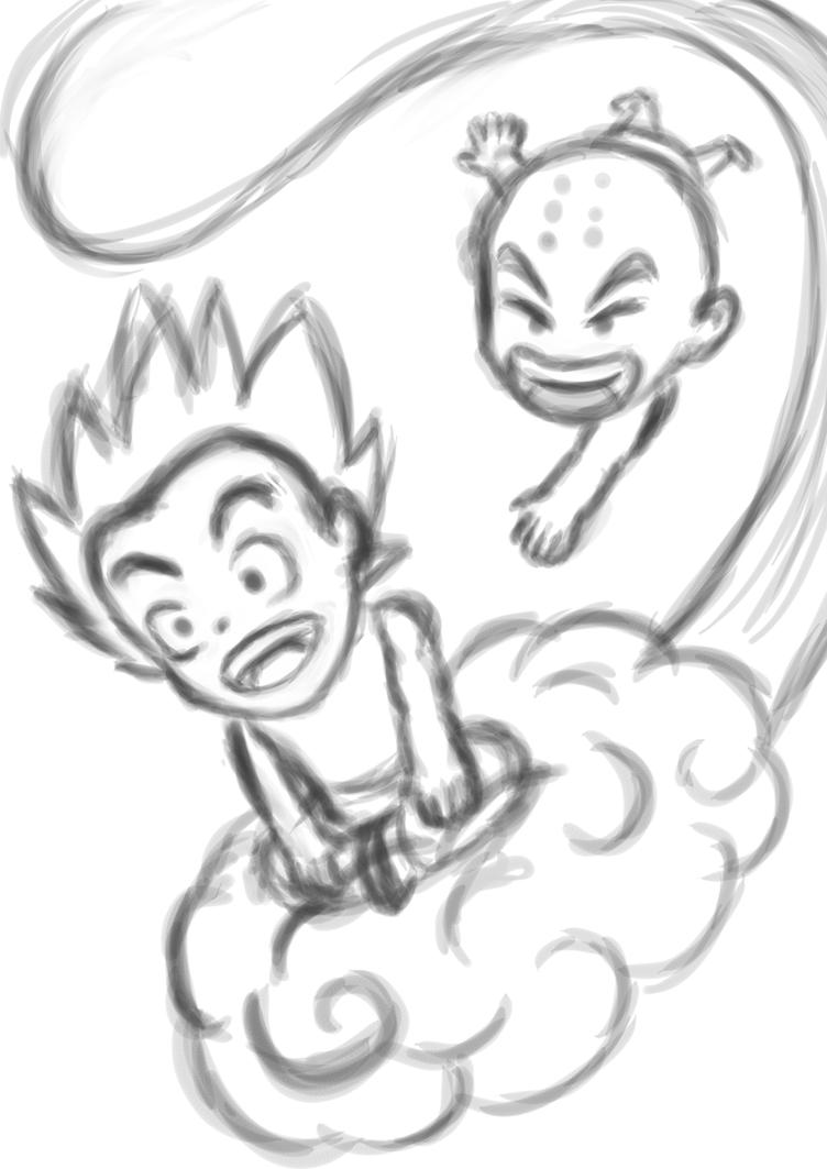 rough : Dragonball Goku Krillin 2015 by darshan2good