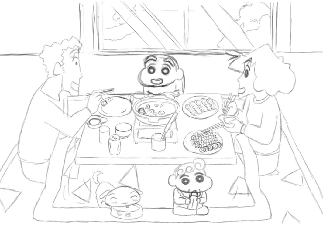 shin chan coloring pages - rough crayon shin chan family dinner 2015 by