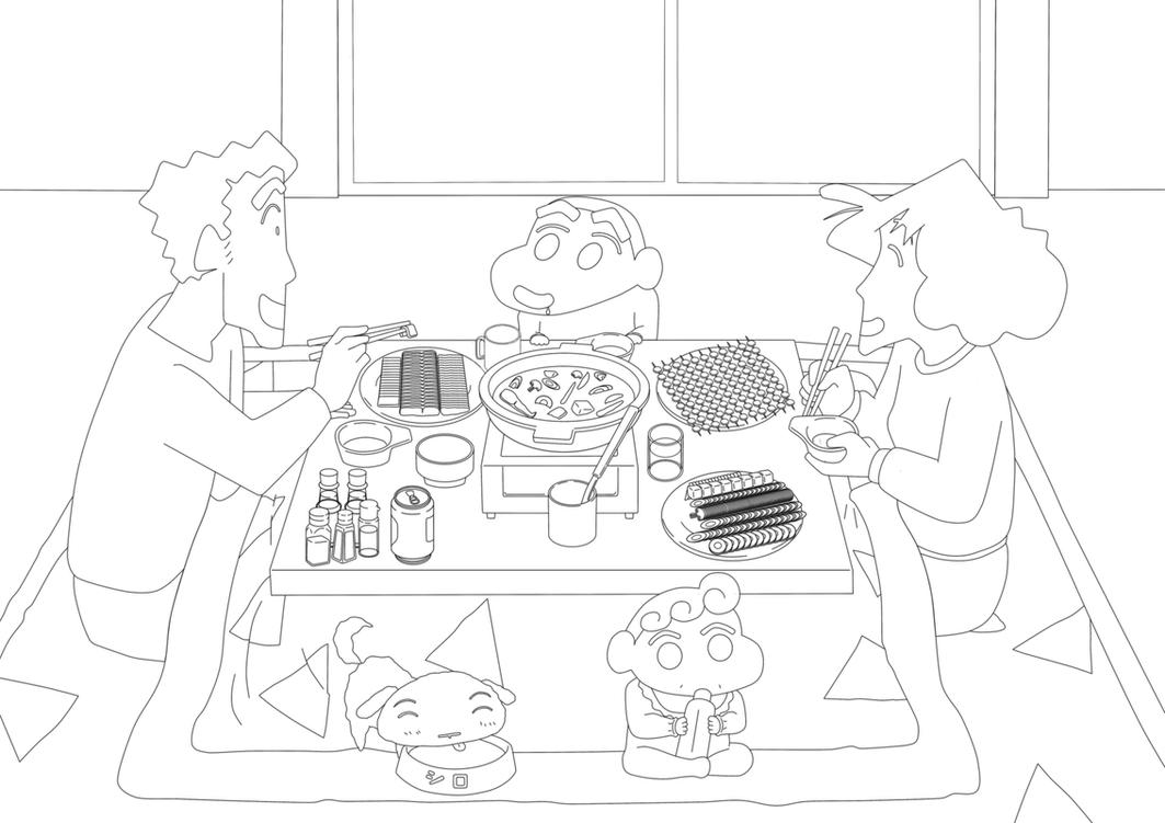 Line : Crayon Shin Chan Family Dinner 2015 by darshan2good