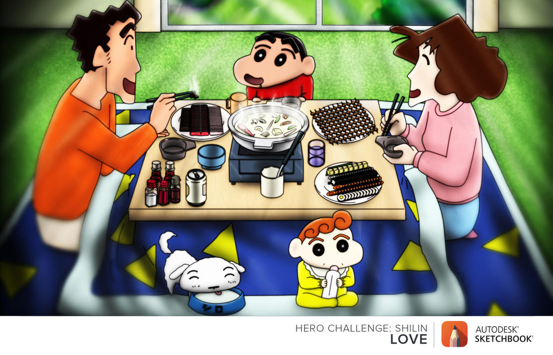 digital : Crayon Shin Chan Family contest 2015 by darshan2good