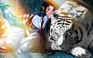 white tiger and boy by logosles