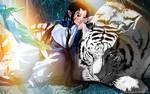white tiger and boy