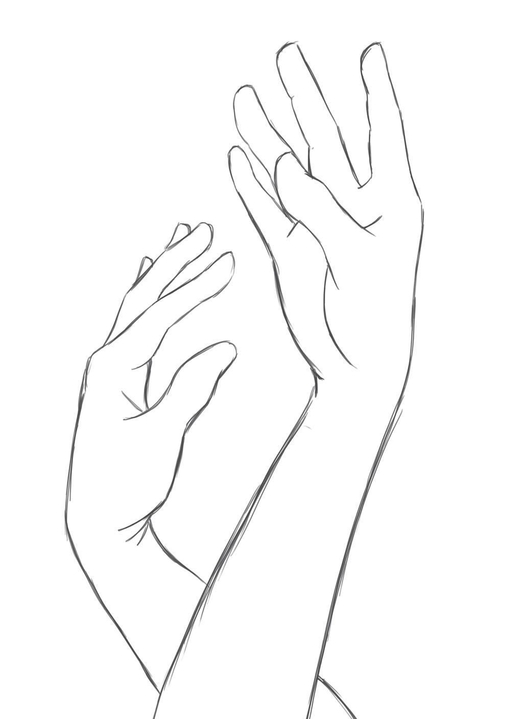 D Line Drawing Of Hand : Two hands by cookx on deviantart