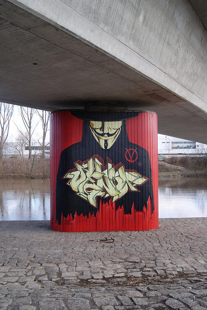 Anonymous StreetArt Vendetta Mural in Bamberg by OpGraffiti